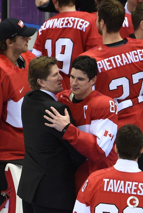 Sidney crosby and the coach after the win.
