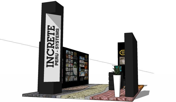 Stand de Increte Peru Systems en el Excon 2009 del Jockey Plaza, armado conmódulosde mdf pintados al duco y piso de concreto estampado de...