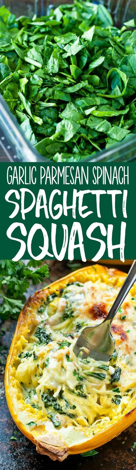 Aiming to eat more veggies? This Cheesy Garlic Parmesan Spinach Spaghetti Squash recipe packs an entire package of spinach swirled with an easy cheesy cream sauce. (Squash Recipes)