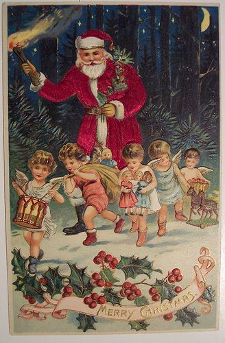 Vintage Christmas Postcard Santa: