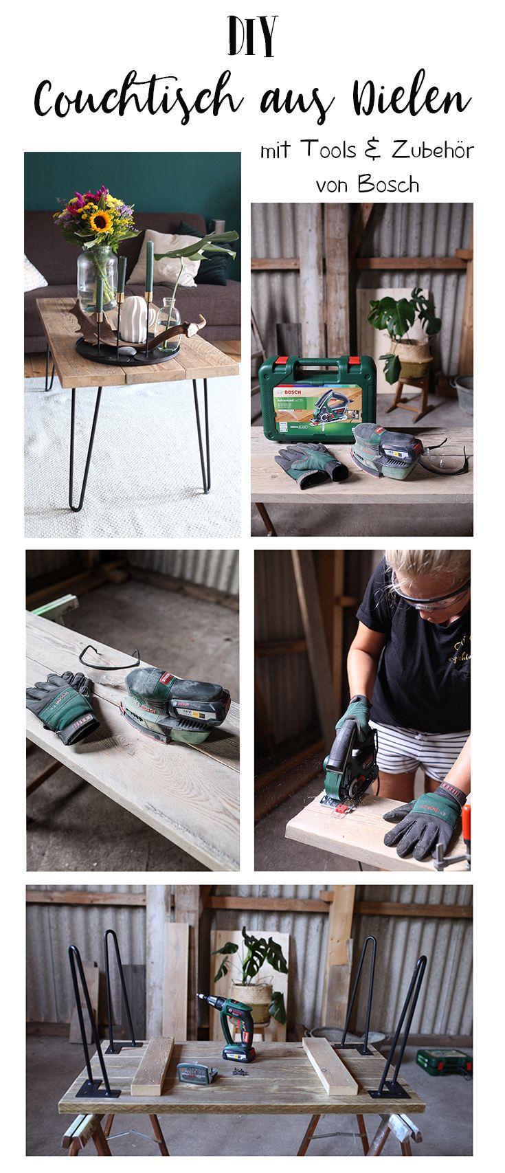 DIY Couchtisch aus Gerüstbohlen ein Projekt mit Tools von BOSCH