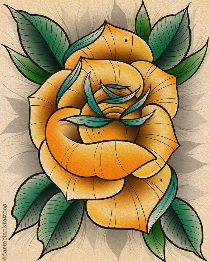 Gold and teal rose tattoo tattoos tattooed
