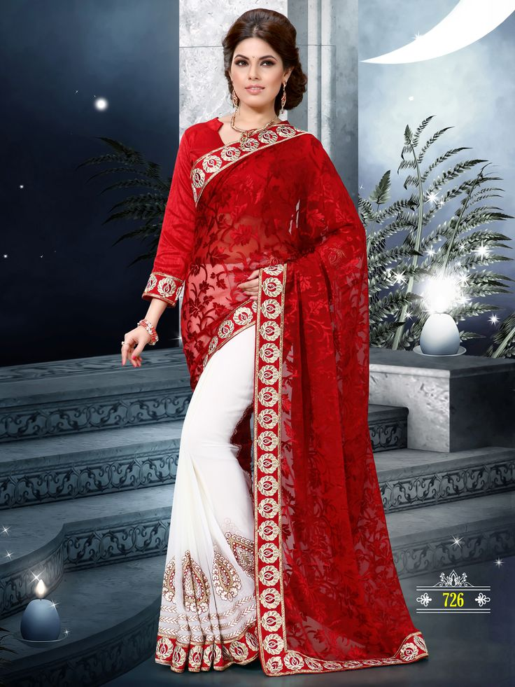 Red and off white color saree