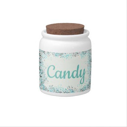 Black and Teal Speckled Circles Personalized Candy Dishes - black gifts unique cool diy customize personalize