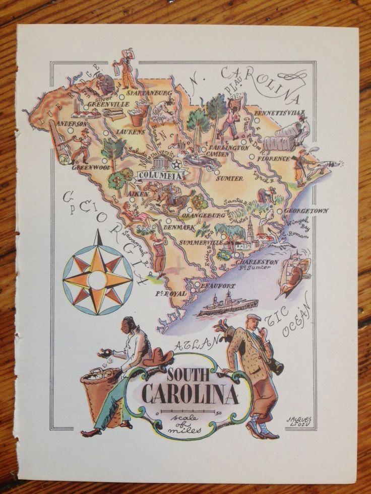 South Carolina Map Vintage Map Art State