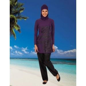 Islamic modest swimwear in purple from www.hijabnow.com