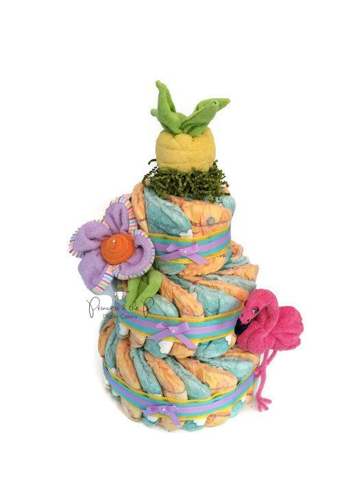 free shipping sale tropical diaper cake luau baby shower decoration baby girl