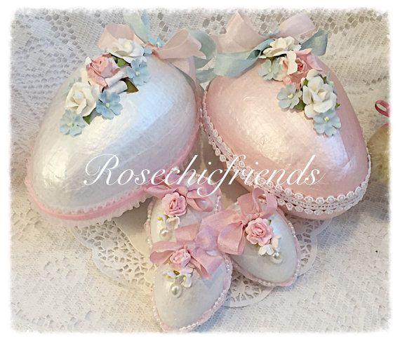White Cottage Chic 3 Easter EGGS 2.5 Bowl by RoseChicFriends