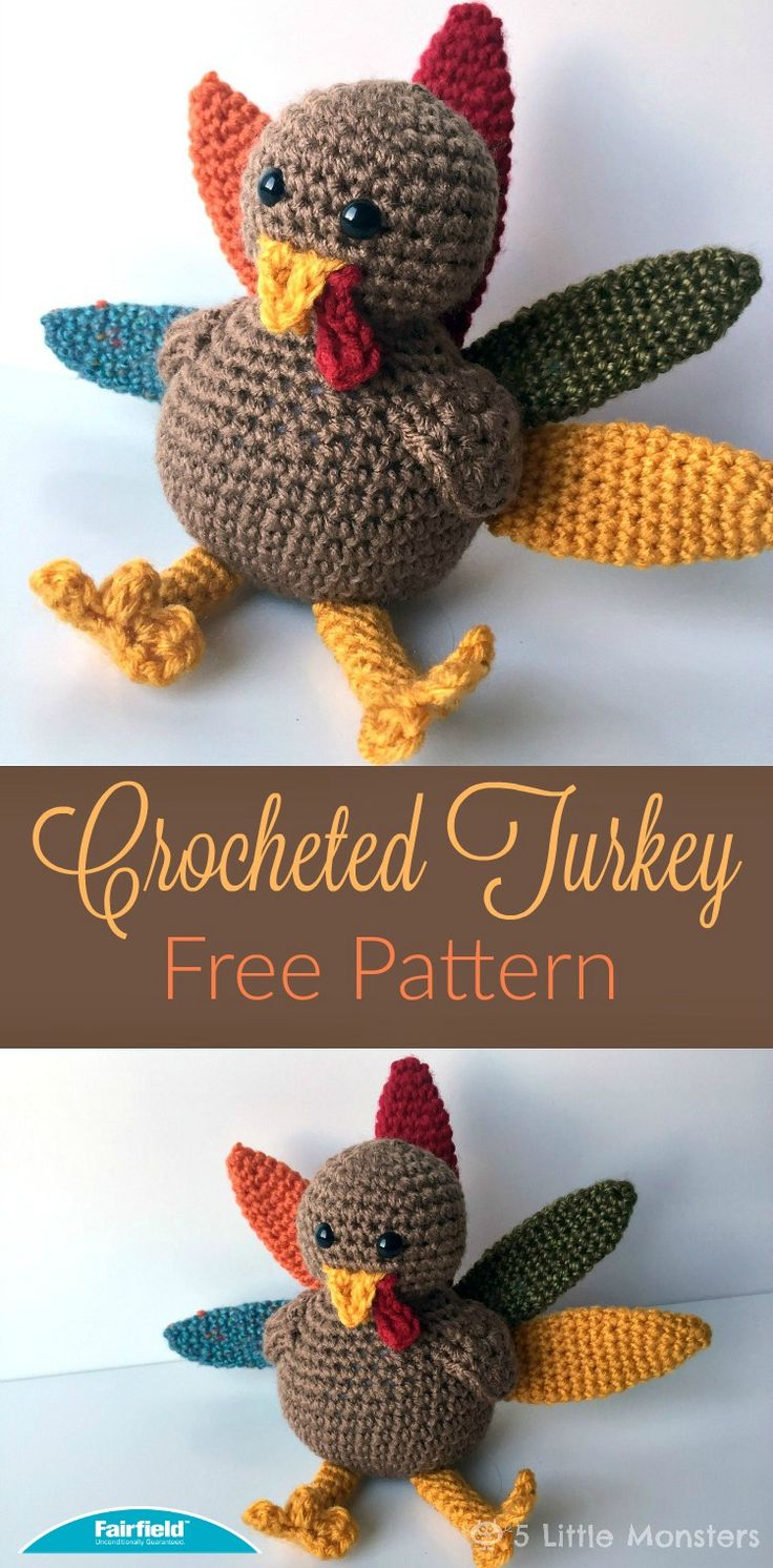 Crocheted Turkey for Thanksgiving