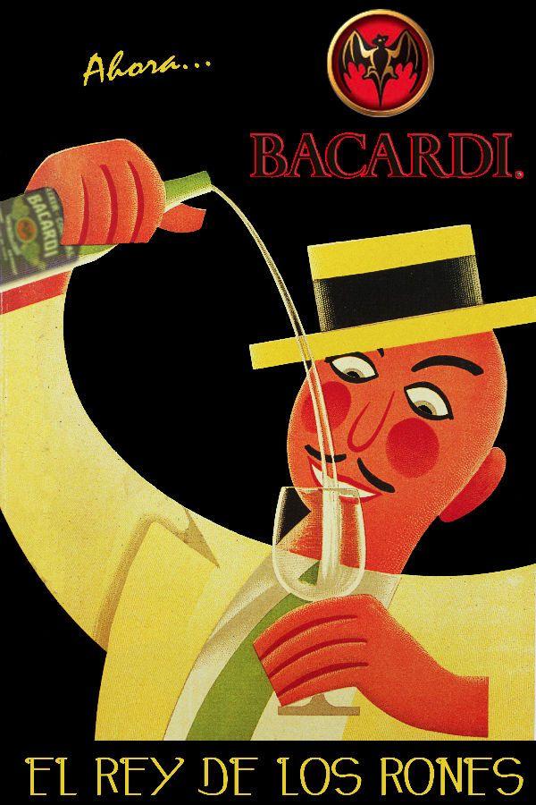 01i Bacardi Rum King Vintage ad POSTER.Cuban.Bedroom Bar Decor.El mejor ron
