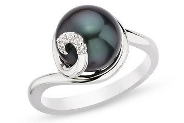 I want this.  9-10mm Cultured  Black Pearl and Diamond Sterling Silver Ring - $95.00 via CountMeInApp - Social Gifting Made Easy