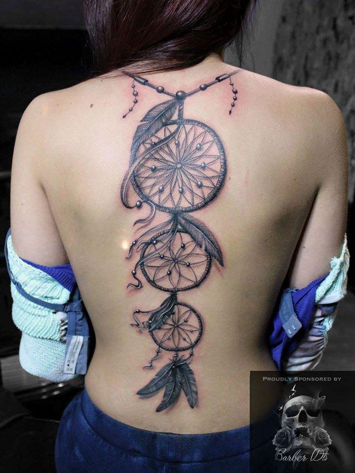 Dreamcatchers On Girls Back Best Tattoo Ideas Designs