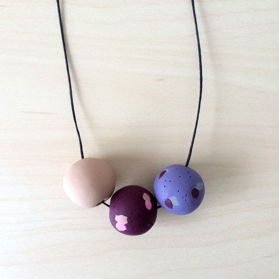 Cassie  Handmade Jumbo Polymer clay Necklace 3 by onthedotdesign