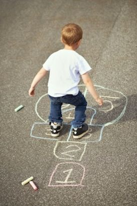 Fun for summer time. Playing hopscotch. An easy gross motor activity for kids