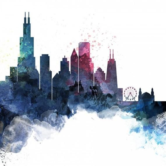 Chicago Watercolor Cityscape Pillow Etsy In 2021 City Painting Skyline Painting Chicago Skyline Art