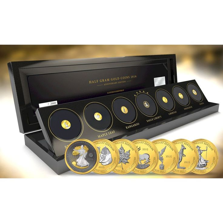 2016 Gabon 7 X 1/2 Gram Anniversary Edition .99999 Gold Platinum Proof Coin Set