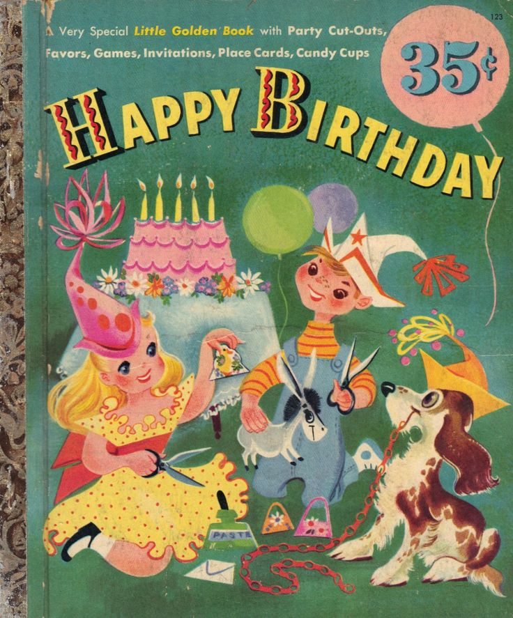 1952 Little Golden Book Happy Birthday Party Cut-Out Favors