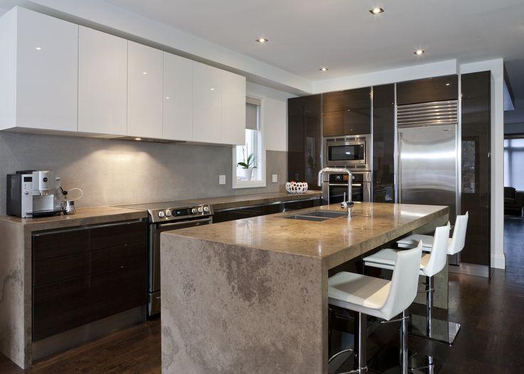 Best Scavolini Modern Kitchen Dark Wood Glossy White Lacquer 640 x 480