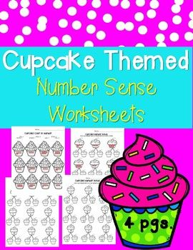 4 Cupcake Themed Number Sense Worksheets! Ready to print & go. These were designed for beginning of the year first graders! - 1 number bond worksheet (missing addends) - 1 number bond worksheet (1 missing addend) - 1 ten frame number bond - 1 ten frame color