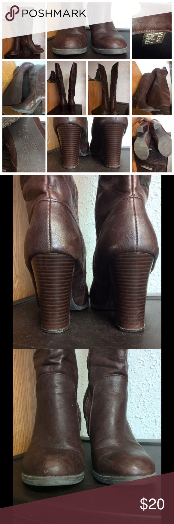 Dexflex by Dexter Boots Brown faux leather side zip boots.  Gently used. Dexter Shoes Heeled Boots