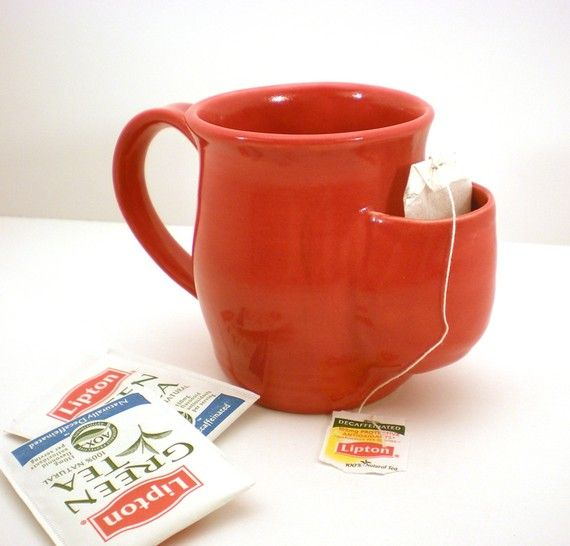 Tea Drinkers Sidekick Mug Red Cup Tea Bag Pouch by AngelaIngram, $25.00