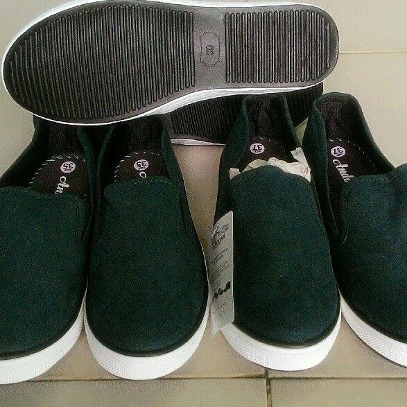 giày slip on trơn xanh