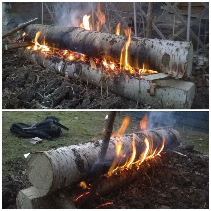 Finnish gap fire. Great for radiating lots of heat and keeping the fire out of snow/water.