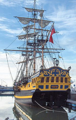 Grand Turk, moored in Ostend, Belgium. The Grand Turk was a three-masted sixth-rate frigate, designed to represent a generic Nelson-age warship, with her design greatly inspired by HMS Blandford (1741). The ship was built in Marmaris, Turkey, in 1996