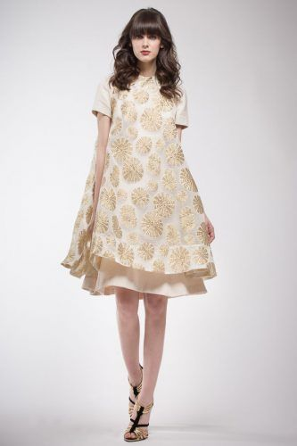 Fil coupé gold and cream wide tunic with drawing large and small flowers