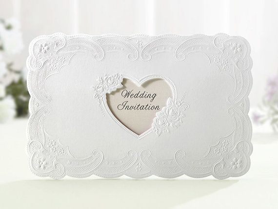 Custom White Heart Window / Flower Embossed Wedding Invitations - GA7020 - Free Envelopes & Silver Seals - Free Shipping Promotion
