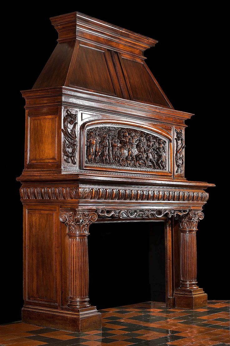 French carved Trumeau Fireplace Mantel Cheminee