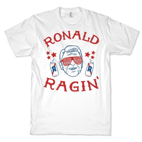 Ain't no party like a Ronald Reagan party. With this Ragin' Reagan design you can show off one of the biggest partyin' presidents there ever was (that is except for Abe). Bring the rage to every party you go to this summer.
