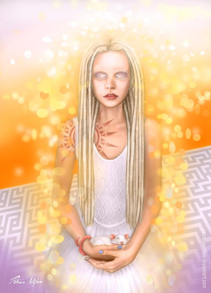 Digital painting of a young girl about positive psychology and the importance of meditation