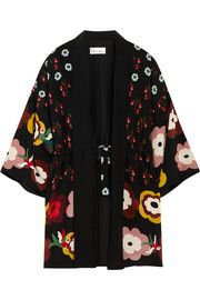 Floral-print silk crepe de chine kimono jacket