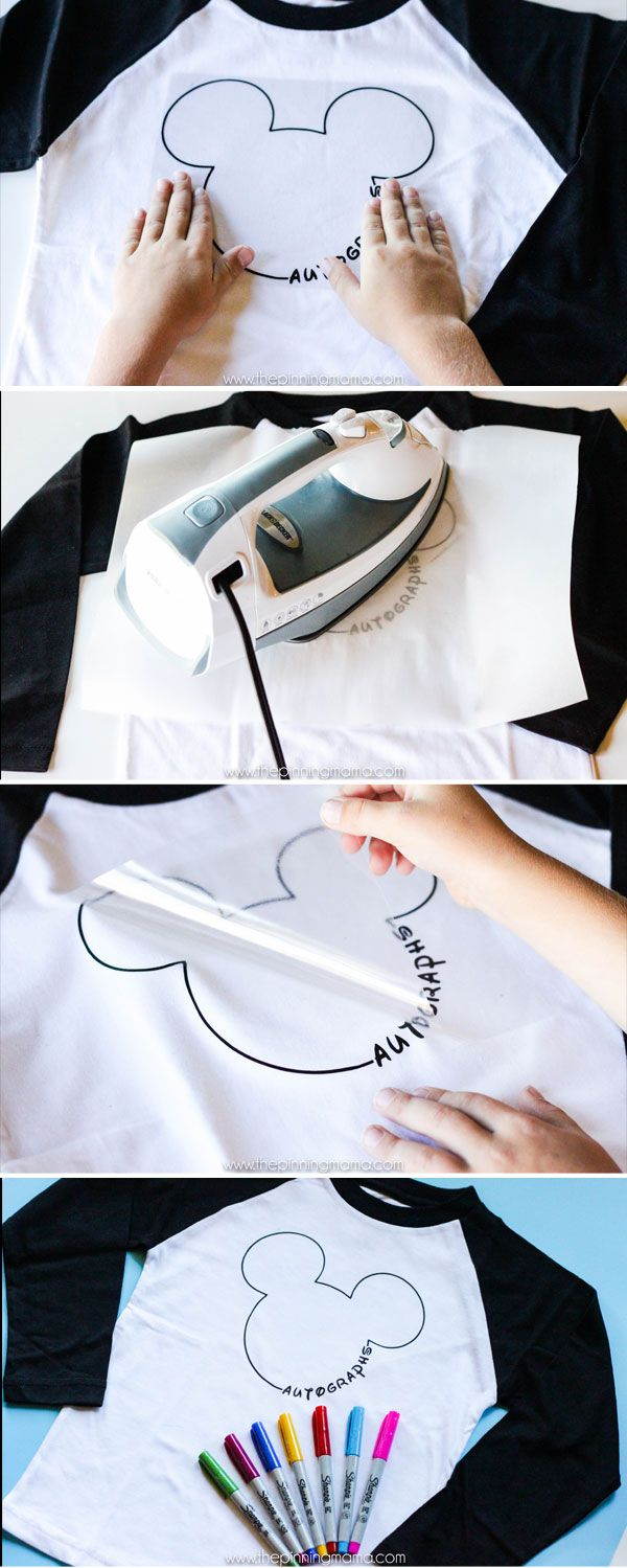 3 step Disney Shirt - Iron on Mickey Mouse Autograph Shirt for Disneyland! This is such an easy project and my kids will LOVE it!