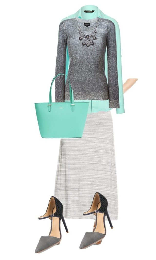 """Gray & teal maxi skirt outfit"" by stephfee on Polyvore featuring Mossimo Supply Co., Jane Norman, Emporio Armani, L.A.M.B. and Kate Spade"