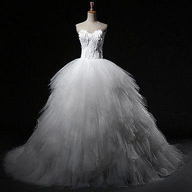 Свадебное платье Пышное платье В виде сердца С ультра-длинным шлейфом – USD $ 249.99
