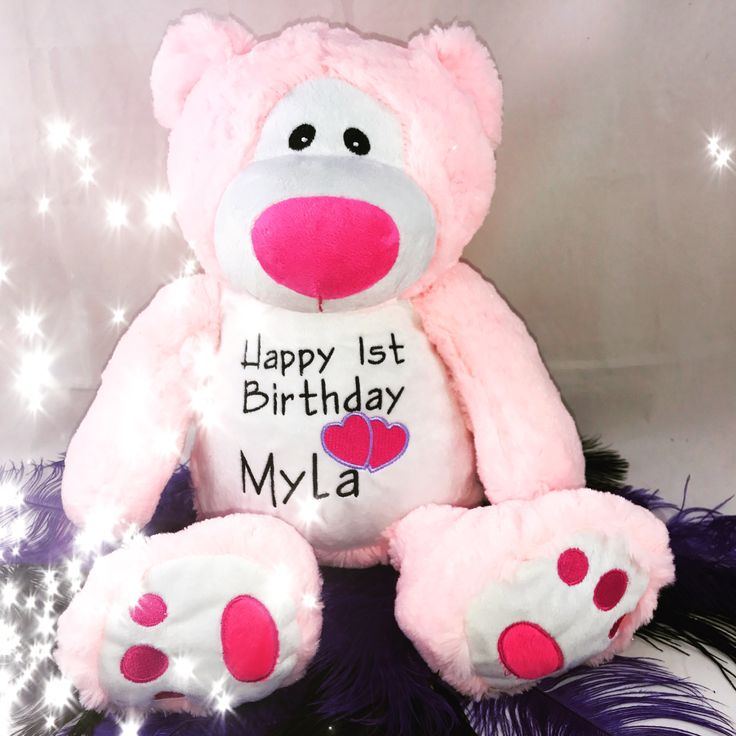 Personalised Pink Snugabudz Teddy Bear with a Birthday Message http://teddybearsandgifts.com.au/personalised-gifts-keepsakes/baby-to-toddler/personalised-message-bears/ $49.70
