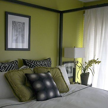 Color scheme for our green bedroom - grey, black, white and green.