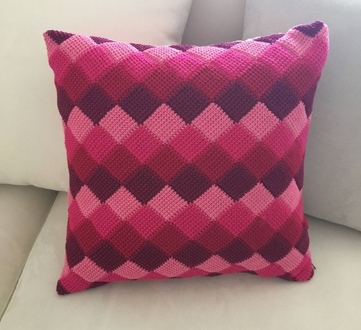Pillow covers, pillow case, pink crochet pillow, throw pillow, decorative pillow, check pillow cover, sofa pillow, pillow cover 16x16 by LittleFlowerbyGloria on Etsy