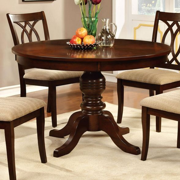 Round Table Top With Pedestal Dining Table Wood Brown Cherry Homes Inside Out In 2021 Round Wood Dining Table Round Pedestal Dining Dining Table