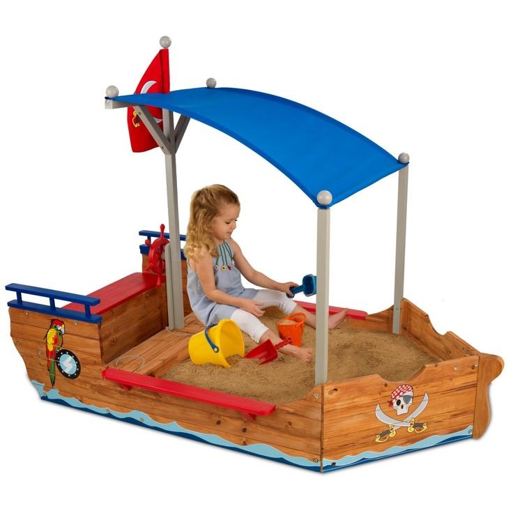KidKraft 6-ft. Pirate Sandboat Wooden Sandbox