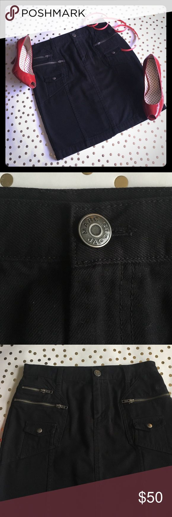 """🌟SALE!🌟MARC JACOBS Denim Skirt, NEARLY NEW! 🌟Fab designer label + fab design! 🌟Zip and snap pockets galore add a bit of edge but don't detract from the skirt's gorgeously clean, modern lines. Subtle MJ monogram as shown; interesting seaming on slit. A not-so-basic basic--turn heads wherever you go! 14"""" flat waist; 17.5 flat hips; ca. 19"""" long. 100% cotton, brushed to wonderful softness inside. 😉This skirt (in a different wash) currently selling for $100 on T***sy!😉 Marc Jacobs Skirts"""