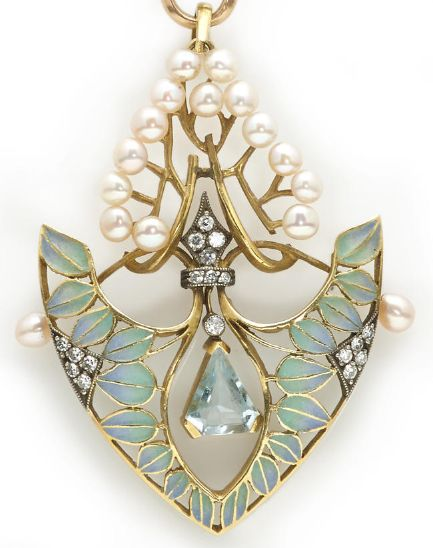 An aquamarine, diamond, cultured pearl and plique-à-jour enamel pendant with eighteen karat gold longchain chain with English hallmarks; pendant mounted in eighteen karat gold and silver.