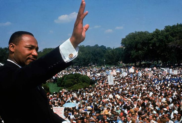 Martin Luther King Jr. addresses the crowd during the March on Washington for Jobs and Freedom, August 28, 1963.