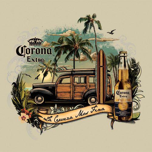 Men's Corona Retro Vintage Surf T Shirt s M L XL 2XL Beer Cerveza Studebaker | eBay