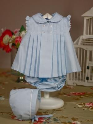 jesusito vestido de verano azul con capota bebe niña 3meses, 6 meses y 12 meses