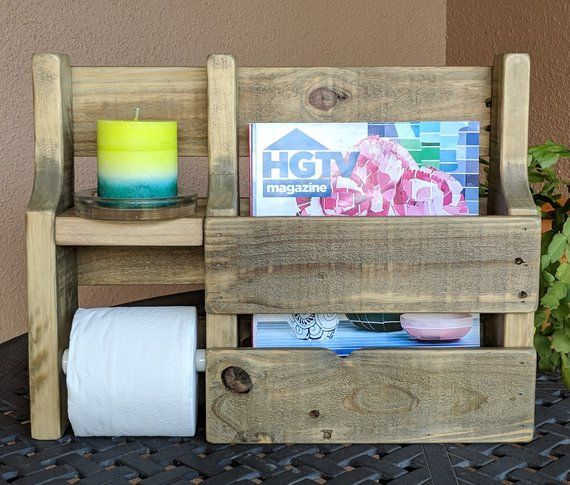 This magazine rack/toilet paper holder was made from reclaimed and repurposed na…   – Shelves