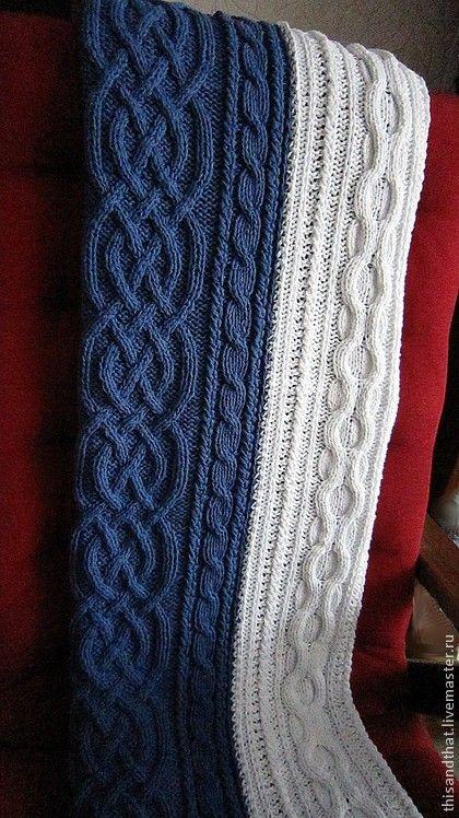 Текстиль, ковры ручной работы. Сине-белый плед. Вязание спицами. Всякая всячина для дома. Анна. Интернет-магазин Ярмарка Мастеров.