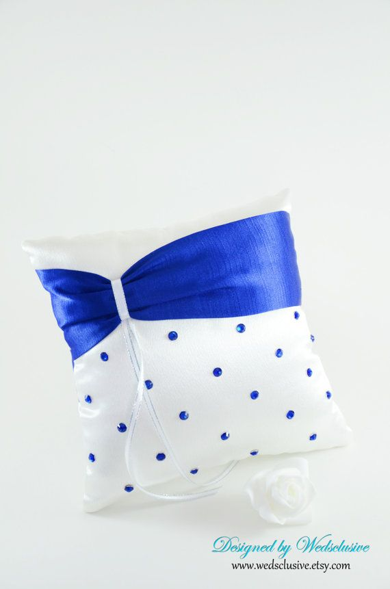 Royal Blue Ring Bearer Pillow- This one cause it's polka dots and a little more fun- :)